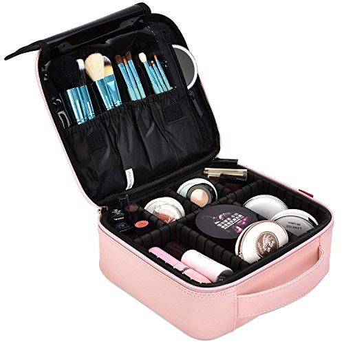 DTBG Mochila de Maquillaje profesional Bolsa de Maquillaje impermeable para Hombres y Mujeres Organizador de Cosméticos portátil Estuche para viaje Bolso de Cosméticos con divisores bolsillos, Rosa