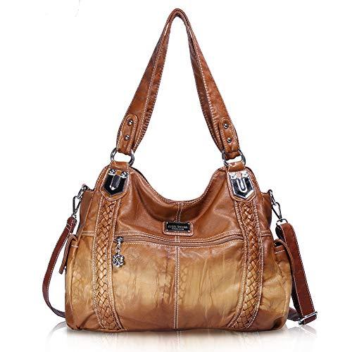 Angel Barcelo Geldbörsen und Handtaschen für Frauen Damen Umhängetasche Designer Tie Dye Satchel Fashion Totes für Mädchen (0044Z-Brown) - Designer-stil Echtes Leder