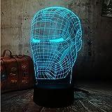 shiyueNB Cool 3D LED Iron Man Light Night Desk Lampe de Table RGB 7 Changement de Couleur Lampe Torche USB RGB Contrôleur Luminaire Interrupteur Jouet Cadeau pour Enfants