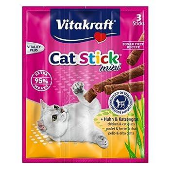 Vitakraft Snack pour chats Cat-Stick mini- Poulet & Katzengras -3 x 6g