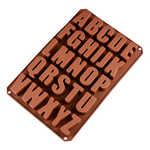 Alwayswe 26Lettres Chocolat Moules en silicone, biscuits, Moules, Moules, Savon de cuisine cuisson Moule en silicone pour chocolat DIY, glaçons, biscuits, gâteaux,