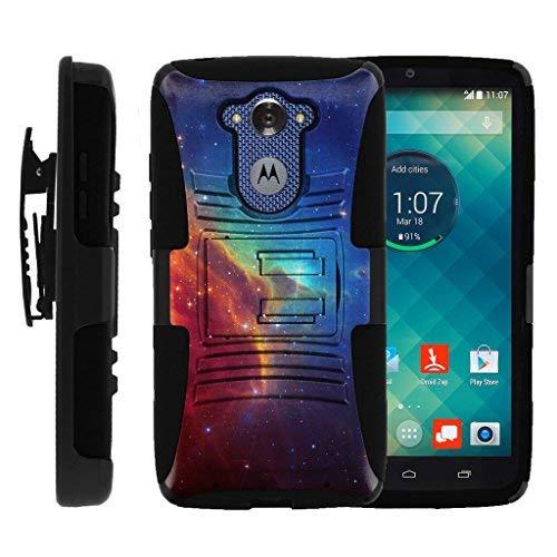 turtlearmor | Motorola Droid Turbo Fall | xt1254| Moto Maxx Fall [Hyper Schock] Hybrid Dual Layer Rüstung Holster Gürtel Clip Case Ständer -, Colorful Nebula Galaxy
