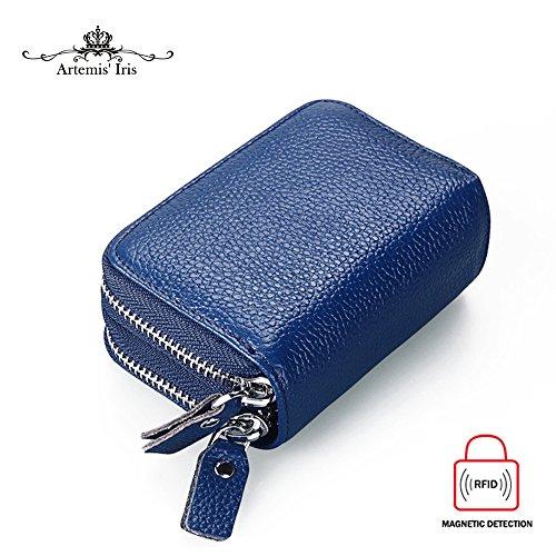 GRANDE VENDITA - 40% OFF - Artemis'Iris RFID Blocco mini supporto Carte Anti-Theft Zipper Accordion Piegato 2 parti principali della borsa del raccoglitore, marrone blue