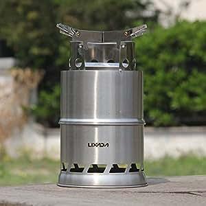 Lixada Réchaud à bois Portable en acier inoxydable pour Cuisine de plein air de pique-nique barbecue Camping ¡