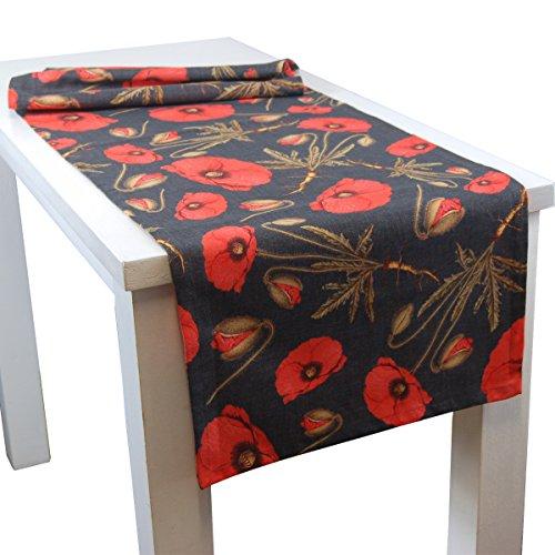 Slub-baumwolle Kurz (beties MohnLicht Tischläufer ca. 40x130 cm 100% Baumwolle im floralen Mohn-Design mohn-anthrazit)
