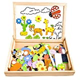 Cooljoy 100 Pieces Wooden Kids Toy Magnetic Board Puzzle Games, Double Face Jigsaw& Drawing Easel Chalkboard Educational Learning Toys for Kids(Animal Pattern)