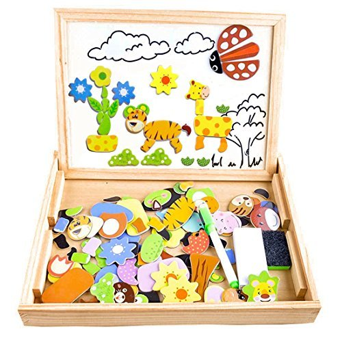 Puzzles Enfant en Bois Magnétique, COOLJOY Jigsaw avec Tableau Noir de Chevalet à Double Face Jouets Educatif...