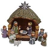 chiccie Cuna de Navidad Con Figuras Navidad -10cm-Decoración María José Jesús Magos TRES REYES Establo PESEBRE - Groß 20cm
