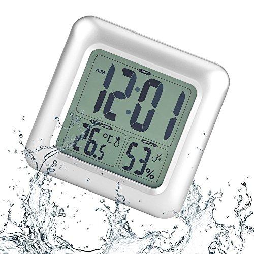 Horloge Étanche Digitale Horloge de Bain LED Réveil Silencieux Numérique avec Température, Retroéclairage, Humidité, 4 Ventouses Ultra Forte pour Salle de Bain Cuisine Salon