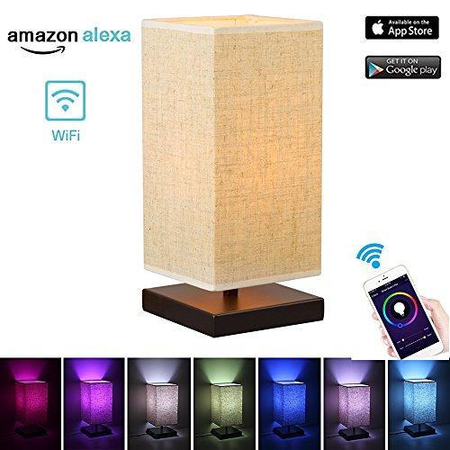 WiFi-Tischlampe von Smart Home, für Android und iOS, Amazon Alexa, Sprachsteuerung, Dimmen und Farbe ändern Steuerung per App., mehrfarbig, A 240.0volts