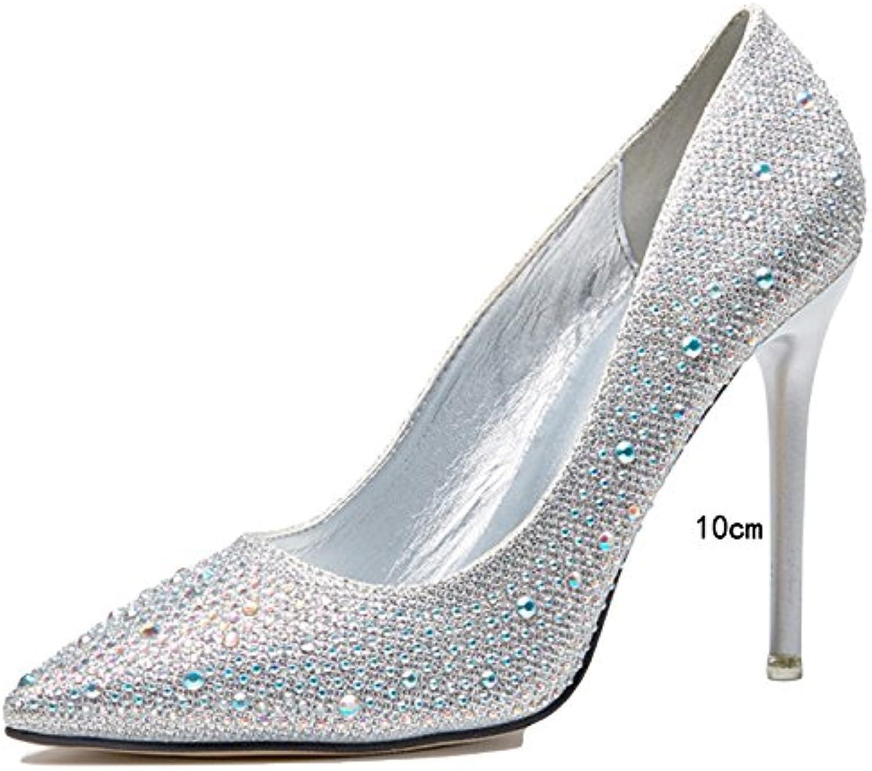 WKNBEU Frauen Flach Spitze Silber Rot Gold Diamant Sexy Stiletto Heels Abend Braut Brautjungfer Slip-on Sandalen
