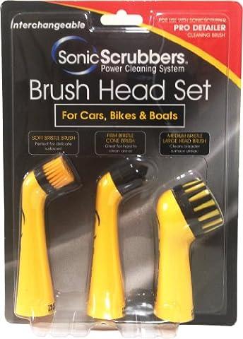 SonicScrubber Pro Detailer - Brosses de nettoyage accessoires pour voitures, motos, vélos et bateaux ( lot de 3 )