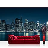 Vlies Fototapete 350x245 cm PREMIUM PLUS Wand Foto Tapete Wand Bild Vliestapete - NEW YORK BLUE NIGHT SKYLINE - New York City USA Amerika Empire State Building Big Apple - no. 022