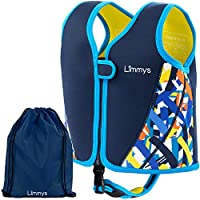 Limmys Chaleco de Natación de Neopreno de la Marca Premium para Niños, Flotador para el Aprendizaje de la Natación Ideal para Niños, Incluye una Bolsa con Cordón Extra (Medium)