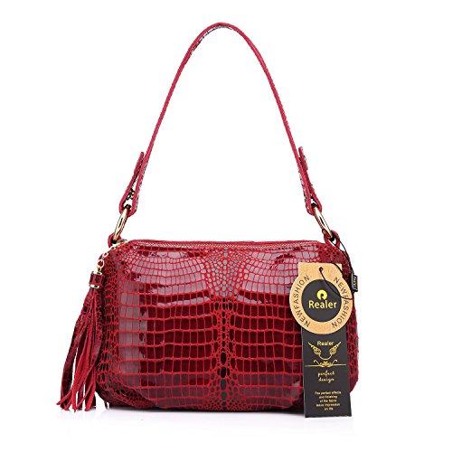 Realer Frauen Handtasche Krokodil Muster Leder Hobos Messenger Taschen mit Quasten Rot