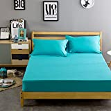 #8: Linenwalas 300 TC 100% Cotton Queen Size Fitted Bedsheet with 2 Pillow Covers - Solid Plain -Teal Blue - 60