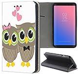 Samsung Galaxy S3 Mini Hülle Premium Smart Einseitig Flipcover Hülle Samsung S3 Mini Flip Case Handyhülle Samsung S3 Mini Motiv (644 Eule Eulen Owl Grau Rosa Gelb Herzen)