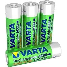 Varta Rechargeable Accu Ready2Use vorgeladen AA Mignon Ni-Mh Akku (4-er Pack, 2600 mAh), wiederaufladbar ohne Memory-Effekt - sofort einsatzbereit