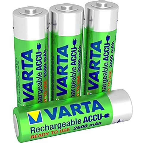 VARTA Rechargeable Accu Ready2Use Pre-Charged 2600 mAh AA Mignon Ni-MH Battery (Pack of 4)