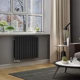 ELEGANT Paneelheizkörper Horizontal 630 x 847 mm Anthrazit Badezimmer/Wohnraum Doppellagig Horizontal Heizkörper Badheizkörper Design Flachheizkörper