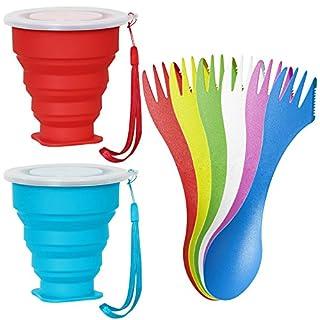 SENHAI 2 Pcs Silikon klappbar Reise Tassen mit Deckel und 6 Stück 3 in 1 Löffel/Gabel/Messer, faltbar ausziehbar für Wandern Camping outdoor Aktivitäten - Rot, Blau