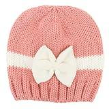 Dabixx Strickmütze, Geborenes Säuglingsbaby-Winter-warme gestrickte Mütze Kontrast-Farbblock gestreiftes großes Bowknot häkeln Beanie-Kappe für 0-1-jährige 6 Farben-Fotografie-Requisiten - D #