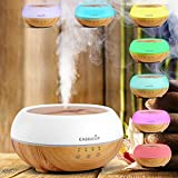Easehold Upgraded Essential Oil Diffuser Humidifier Air Purifier Touch Sensitive Panel 300ml Wood Grain Base 7 Color LED lights (Wood Grain Base+Milk White Lid )