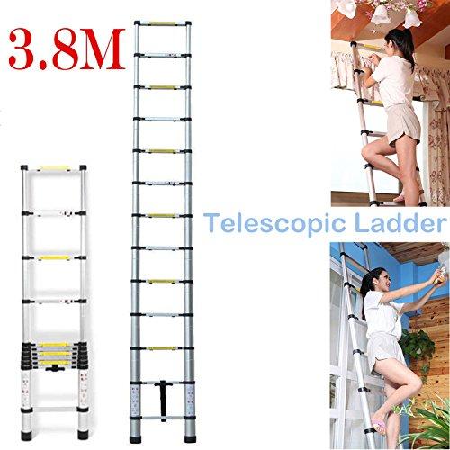 Preisvergleich Produktbild 3,8m Mehrzweck Alu Teleskop Leiter Verlängerung 13Stufen für Home Office Loft Garden UK Lager