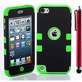 ShopmallHK PC + TPU Mode de conception de style de couleur de contraste Hard Case Hybrid impact Blindé pour Apple iPod Touch 5 (noir + vert)