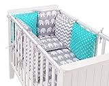 Sevira Kids - Tour de lit coussins modulable AVEC parures - Design Réversible - 14 PIÈCES - ZigZag Eléphants Gris/Turquoise