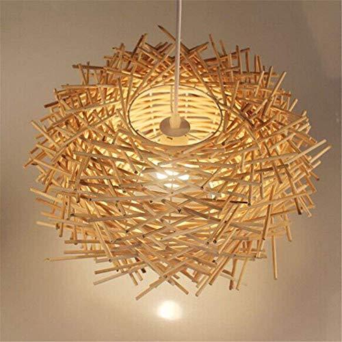 Plafonnier LED Structure en nid d'oiseau tressé en rotin à la main, en bois, 300 mm x 170 mm