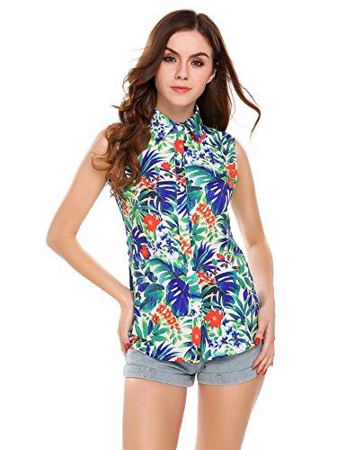 Meaneor Tops Damen Hawaii Bluse Strand Oberteil Sommer Armlos Shirt für Urlaub in 4 Farbe Blumen Freizeit Aloha Hawaii Blusen mit elastischem Material Funky Hawaiihemd L