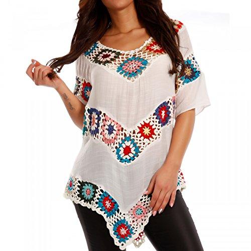 Damen Hippie Shirt Lochmuster Tunika Bedruckt Tunikashirt  in Wollweiß