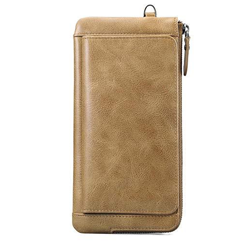 QJXSAN Männer Brieftasche Scrub Top-Schicht Leder Lange Brieftasche Business-Tasche Geschenkbox Verpackung -