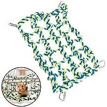 ASOCEA Escalada de Cuerda de algodón Colgante Animales pequeños Redes Hamaca con 4 Ganchos para Jaula