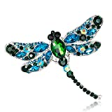 Broche Femme Classique Fantaisie Strass Cristal Libellule Broche Femme Birdal Lady Girl Prom Insecte Bijoux pour Robe De Fête De Mariage pour Les Femmes Filles Dames (Couleur : Light Blue)