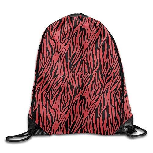 EELKKO Men & Women Sport Gym Sack Drawstring Backpack Bag - (Black Red Zebra Pattern) Womens Graffiti Mesh