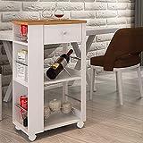 HS-Lighting Küchenwagen Rollwagen Haushaltwagen Servierwagen mit Schubladen & Arbeitsplatte, Bambusholz Weiß
