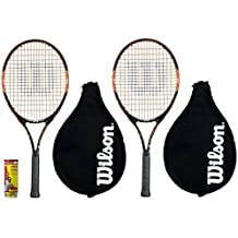 2 x Wilson US Open 58.4cm Raquetas De Tenis Junior + 3 Pelotas De Tenis
