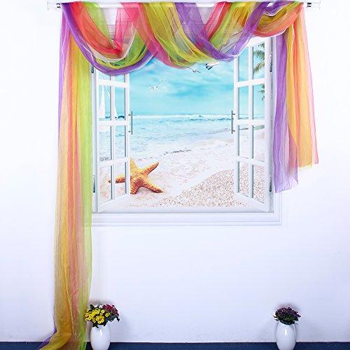 Bloomma tenda a finestra, sciarpa finestra tenda colorato pannello trasparente cotone tessuti in poliestere elegante home decor trattamenti finestra per salotti,matrimonio arco,ufficio,scala