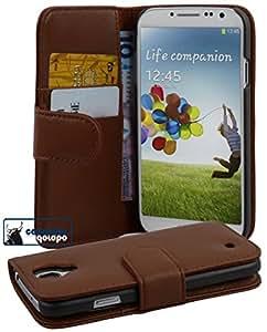 Cadorabo ! PREMIUM - Custodia Libri Style design portafoglio per Samsung Galaxy S4 (GT-i9500 / GT-i9505 LTE) in MARRONE-CASTAGNO