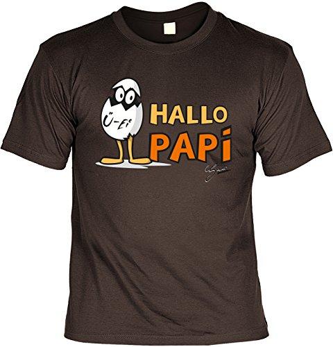 Papa T-Shirt Geschenk Geburtstag Weihnachten Vatertag Vatertagsgeschenk Geschenkidee Hallo Papi Braun