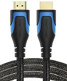 FosPower HDMI Nylon-Kabel, (4,5M) CL3 bewertet HDMI geflochtenes Schnur [UHD 4K   3D   Ethernet  Audio-Rückgabe] Vergoldet für HDTV, Apple TV, Blu Ray Player, PC, Laptop, Spielkonsolen & Mehr