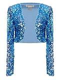Anna-Kaci Femmes paillettes Sequins manches longues Blazers Bolero Haussement d'épaules recadrée veste