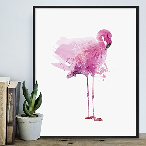 Poster 'Flamingo' 40x50 cm Motiv Vogel Pink Aquarell