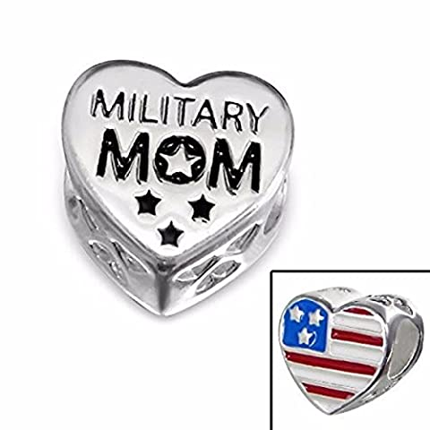 Silvadore - Silver Bead – ''Military Mom'' Heart Plaque Mum Mother Army Soldier American USA Flag - 925 Sterling Charm 3D Slide On - Fits Pandora European Bracelet - Gift Boxed