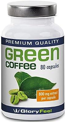 Green Coffee Bean Extract 1.600mg | High Strength Green Coffee Capsules + Vitamin C | 1600mg Pure Green Coffee Powder (50% Chlorogenic Acids) per Serving - 80 Vegan Caps from Gloryfeel