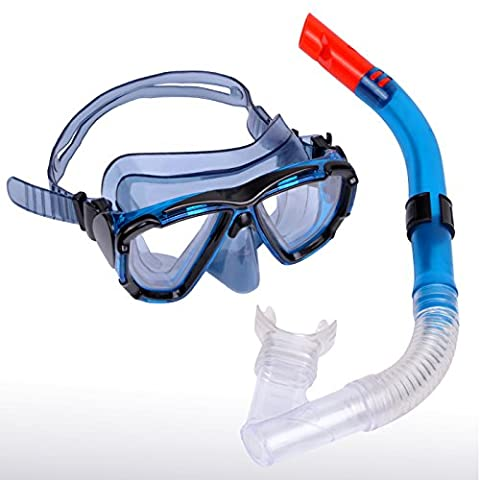 Snorkel Set, Diving Mask & Dry Snorkel Set for Adult, Anti-Fog Coated Glass Diving Mask, Snorkel with Silicon Mouth Piece, Anti-Splash Guard and Purge Valve, Apriller, Black & Blue