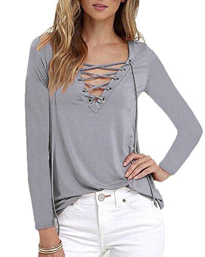 Bluse Donna Camicetta Manica Lungo Camicia Casual Elegante T-shirt Maglia per Donna Grigio
