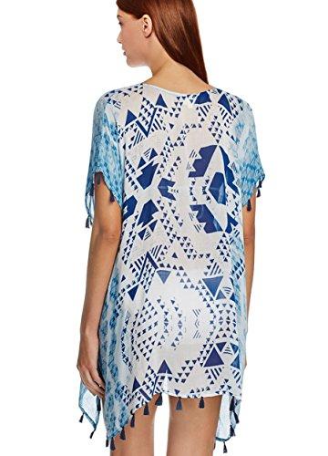 L-Peach Donna Copricostumi Parei per Costume da Bagno Nappa Stripes Chiffon per Spiaggia Bikini Cover Up Blu